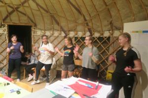 The group having fun
